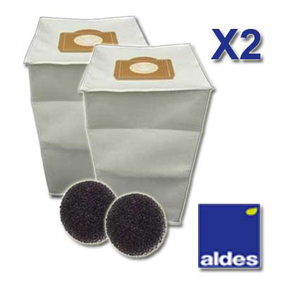 Lot de 2 sacs ALDES Universels d une capacite de 30 litres   2 filtres moteur 150x150px