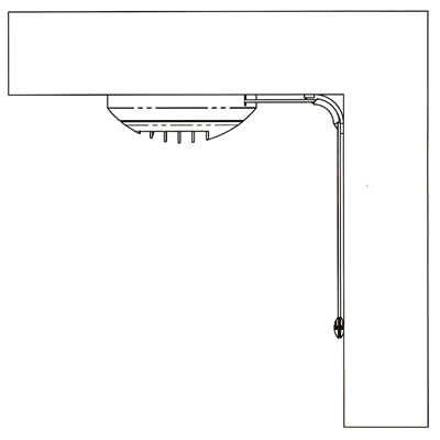ALDES - Renvoi d'angle cordelette pour montage bouche en plafond.Permet le changement de direction de la cordelette pour transformer le mouvement horizontal en vertical  - 400x400px