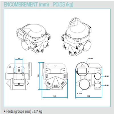 ALDES-KIT EasyHOME HYGRO Premium MW HP groupe haute pression pour grandes maisons, moteur basse consommation + Bouches Bahia Curve à commande électrique ( 1 cuisine, 1 Bain et 1 wc).Prévoir 1 pile 9v pour la bouche cuisine et la bouche WC.  - 400x400px