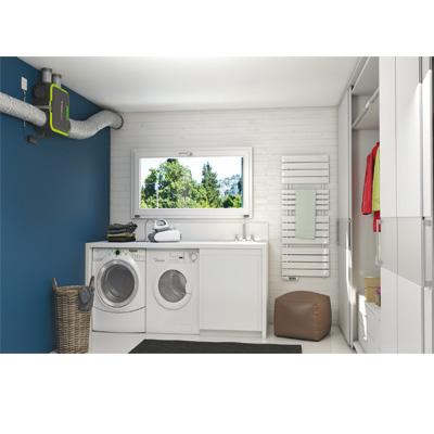 ALDES-KIT EasyHOME HYGRO COMPACT PREMIUM MW , moteur basse consommation,+ Bouches Bahia Curve à commande électrique ( 1 cuisine, 1 Bain et 1 wc).Prévoir 1 pile 9v pour la bouche cuisine et la bouche WC.  - 400x400px