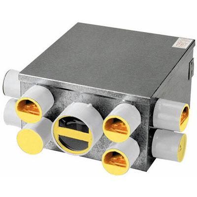 Unelvent - Kit VMC AEROGEM GD6 + inverseur. 1 bouche + manchette cuisine Ø125 et 6 bouches + manchettes sanitaires Ø80 - 400x400px