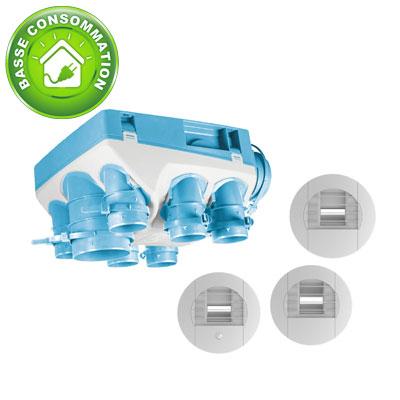 S&P UNELVENT - Kit VMC hygro  OZEO 2 ST  KHB T 3/7P. 1 bouche + manchette Ø125, 2 bouches + manchettes Ø80. Garantie 5 ans - 400x400px