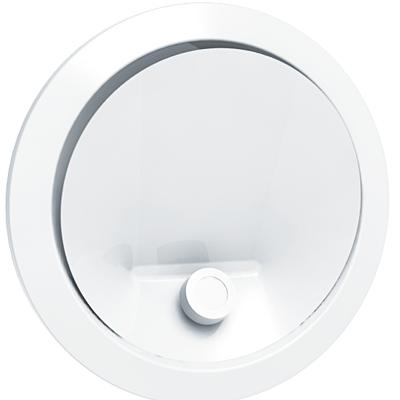 ANJOS - Bouche BIR 100 + manchon placo L=100mm. Utilisation en soufflage d'air en VMC, climatisation et récupérateur de chaleur de cheminée. Débit d'air de 30 à 120 m3/h 150x150px