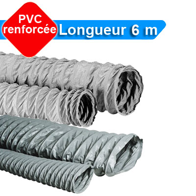 Gaines PVC Ø 100, Longueur 6 m, conduit souple de forme circulaire ou oblong renforcé pour réseau de VMC toutes marques - ALDES 11091629 150x150px