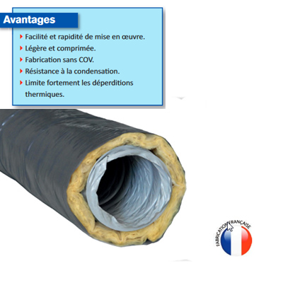 Conduit PVC isolé laine de verre  Ø 125 L= 6m peau intérieure et extérieure en PVC épaisseur isolant 25 mm. 150x150px