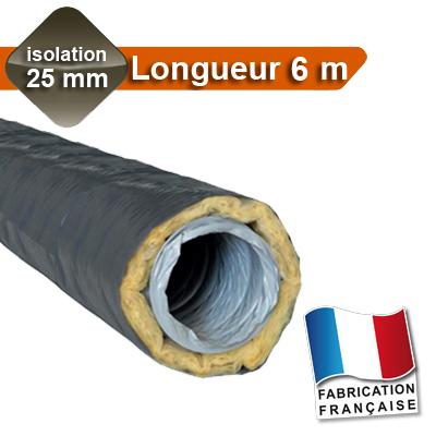 Gaines PVC Ø 125, isolation 25 mm, Longueur 6 m pour réseau de VMC avec peau intérieure en PVC 150x150px
