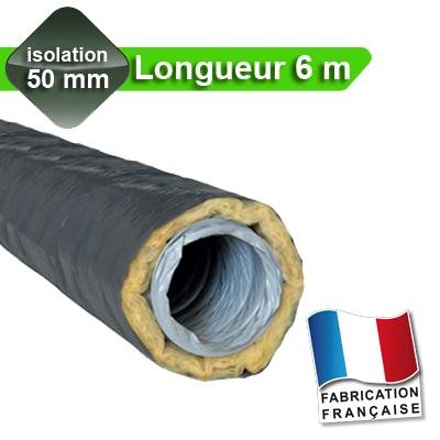 Gaines PVC Ø 125, isolation 50 mm, Longueur 6 m pour réseau de VMC avec peau intérieure en PVC 150x150px