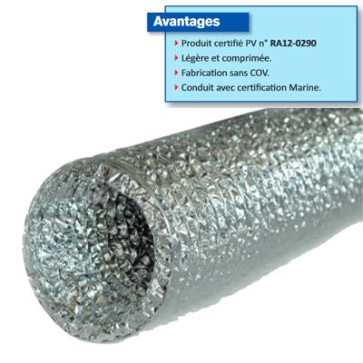 Conduit flexible alu R MO  compacté l=10m ALU R MO Ø 125 150x150px