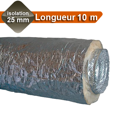 Gaines Aluminium Ø 200, isolation 25 mm, Longueur 10 m, enveloppe extérieure alu M1 intérieure alu M0 en Algaine alu ALDES - ALDES 11091920 150x150px