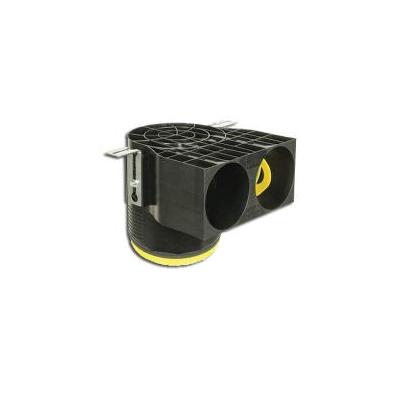 Manchette optiflex courte Ø125 coudée à 90° avec 2 piquages pour conduit Ø75  - ALDES 11091996 150x150px