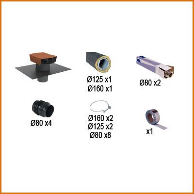 PACK CONDUIT ISOLÉS (36 m) VMC simple flux hygroréglable pour 1 cuisine et 4 sanitaires. Maison jusqu'à 180 m2 150x150px
