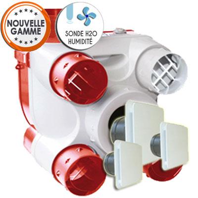Unelvent   Kit VMC DECO DHU simple flux autoreglable avec sonde hygrometrique  1 bouche   manchette cuisine Ø125 et 2 bouches   manchettes sanitaires Ø80  - UNELVENT 603116 150x150px