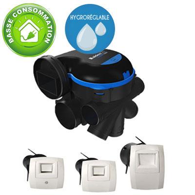 ALDES-KIT EasyHOME HYGRO Premium MW, moteur basse consommation + Bouches Bahia Curve à commande électrique   1 cuisine, 1 Bain et 1 wc .Prévoir 1 pile 9v pour la bouche cuisine et la bouche WC. 11033034 - ALDES 11033034 150x150px