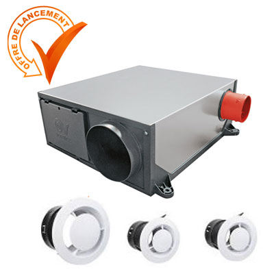 VORTICE-KIT VMC extra-plat PLATT autoréglable, permet de raccorder jusqu'à 3 sanitaires et 1 cuisine.  livré avec 3 bouches . 150x150px