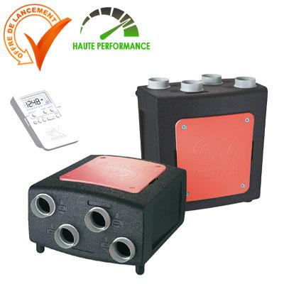 VORTICE-CENTRALE VMC double-flux PROMETEO-HR 400 plus.Echangeur haut rendement, capteurs multi polluants ( humidité et CO2).Télécommande radio.  150x150px