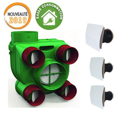 VORTICE-KIT ARIANT-ES autoréglable Moteur très basse consommation, permet de raccorder jusqu'à 4 sanitaires et 1 cuisine. vendu avec 2 bouches sanitaires et 1 cuisine . 150x150px
