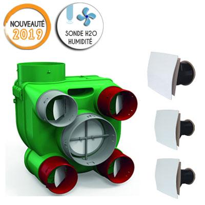 VORTICE-KIT ARIANT H2O autoréglable avec sondes d'humidité, permet de raccorder jusqu'à 4 sanitaires et 1 cuisine. vendu avec 2 bouches sanitaires et 1 cuisine . 150x150px