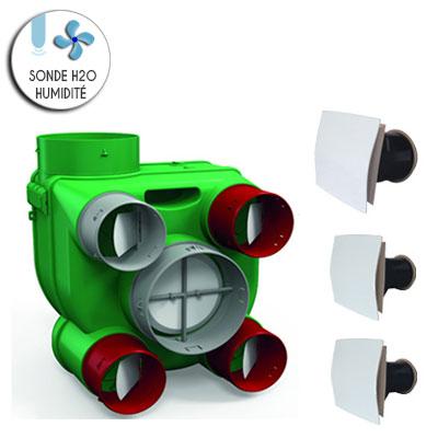 VORTICE KIT ARIANT H2O autoreglable avec sondes d humidite permet de raccorder jusqu à 4 sanitaires et 1 cuisine vendu avec 2 bouches sanitaires et 1 cuisine  150x150px