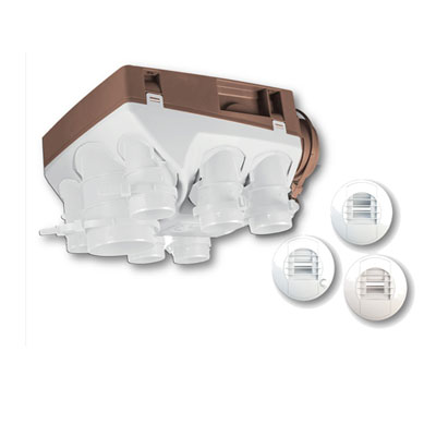 UNELVENT - Kit VMC hygro A OZEO 2 ECOWATT KHA T 3/7 P. 1 bouche + manchette cuisine Ø125, 2 bouches + manchettes sanitaires Ø80. Garantie 5 ans 150x150px