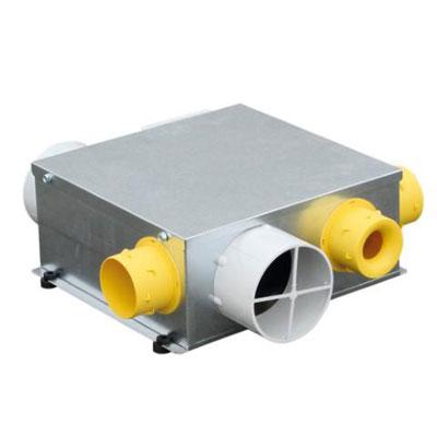 UNELVENT - Groupe VMC simple flux extra-plat auto MICROGEM. 1 piquage cuisine Ø125 et 3 piquages sanitaires Ø80. Garantie 2 ans 150x150px