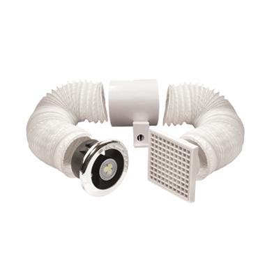 VENT_AXIA - Aérateur LED vent a light lo carbon 12V, garanti 5 ans, utilisation ventilation pièces humides, fonction aération et éclairage LED, fournit avec 3 m de conduits 1 grille de rejet transformateur 220/12 v. 150x150px